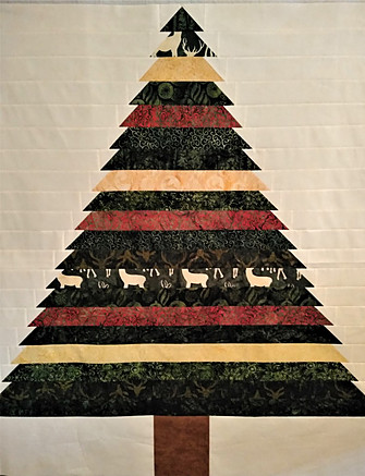 Chrismas Tree Pieced From a Fabric Jelly Roll