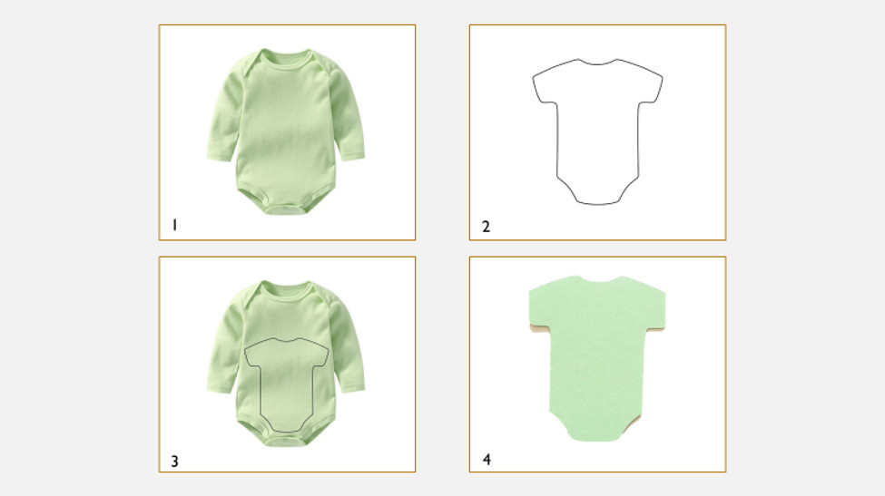 Clothing (onsie) and pattern used to create applique for bably quilt