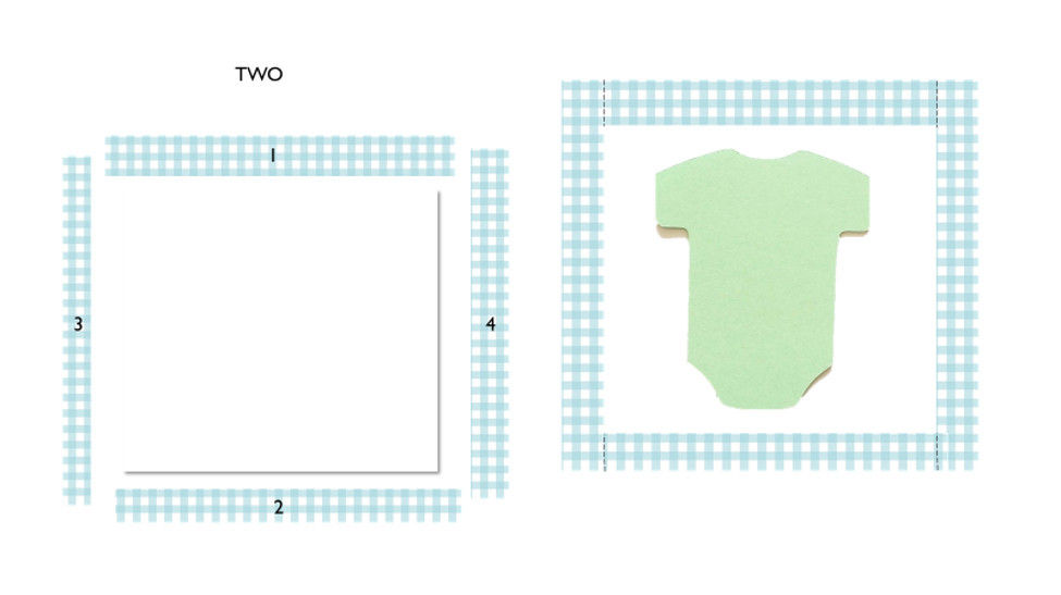Detail for piecing border around white background with applique centered on white fabric.
