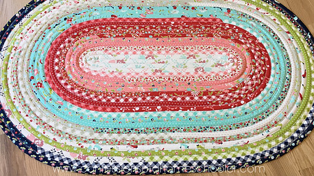 Jelly roll rug made by Erica - Confessions of a Home Schooler