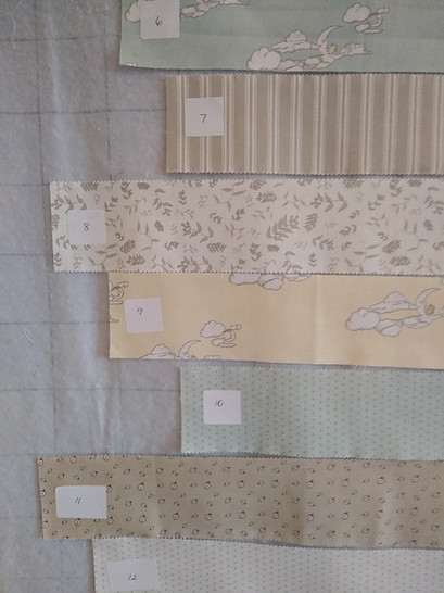 Numbered fabric strips used to make a quilt top