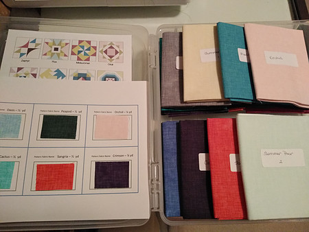 Organization system using labels and fabric swatches for summer sampler 2020 quilt top