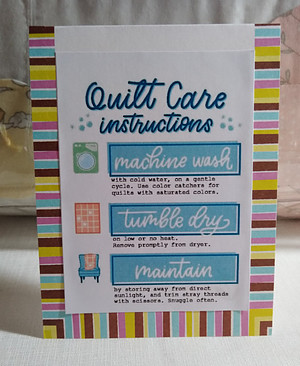 Quilt Care instructions printed and placed on card