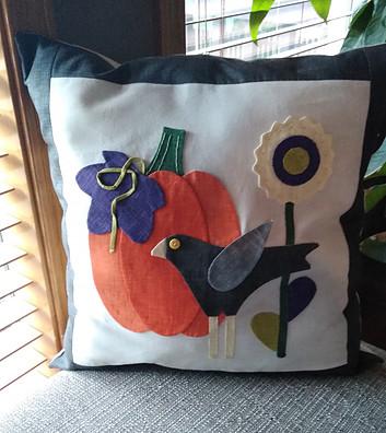 Autumn love by Lori Holt applique pillow