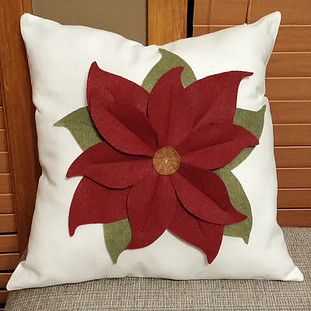 Poinsettia pillow made with felt