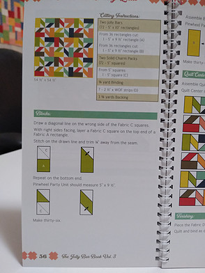 Page 56 of The Jolly Bar Book showing instructions for creating a multicolored pinwheel pattern