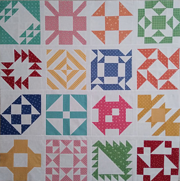 Blocks 1-16: Sewcialites QAL using Prim fabric line by Lori Holt for Riley Blake fabrics