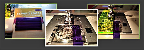 Sewing Edge ruler an dvinyl strips on sewing machine bed