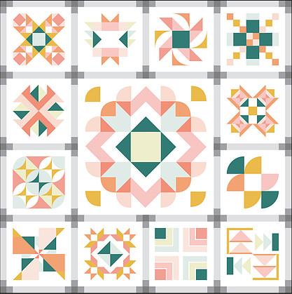 Summer Sampler 2021 Vintage Restyle Quilt Image - Lee Heinrich - https://leeheinrichshop.com/products/summer-sampler-2021-vintage-restyle