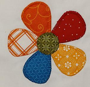 Fabric flower with zig-zag stitching