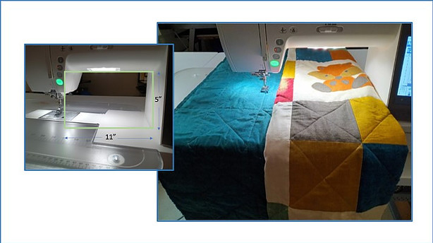 Janome 9450 illustrating width an ddepth of throat space with and without a quilt on the quilt bed