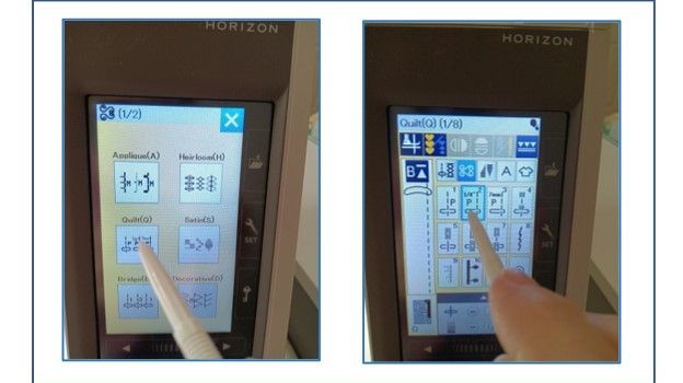Janome 9450 touch screen for stitch selection